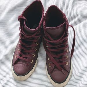 Fleece-Lined Leather Converse All Star Hi-Tops